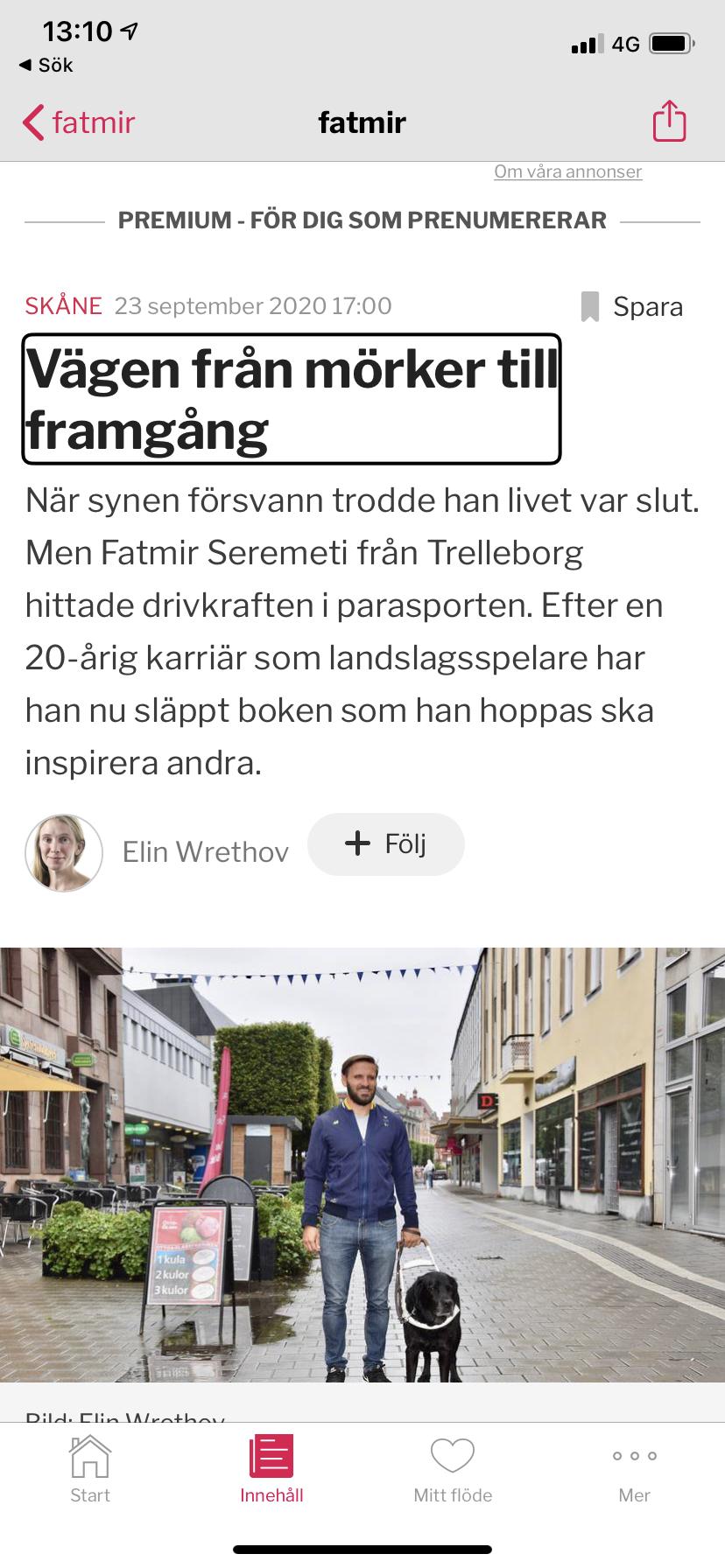 Bild på artikeln i Sydsvenskan. Från mörker till framgång av Fatmir Seremeti