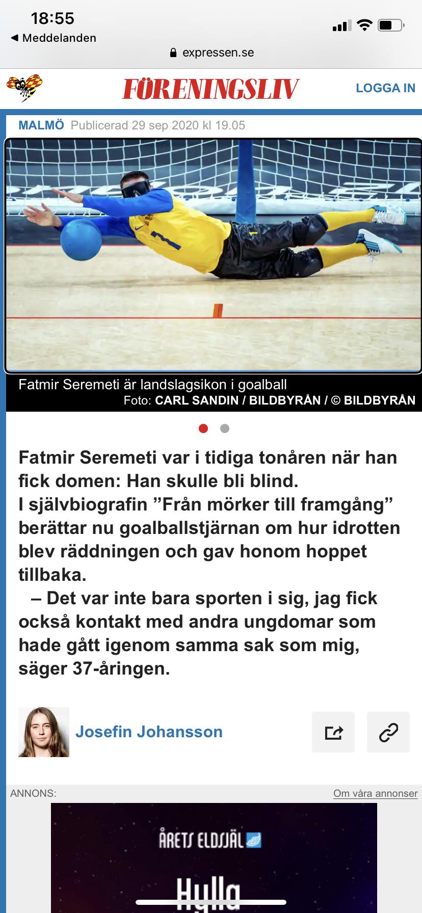 Skärmbild på artikel om boken Från mörker till framgång och Fatmir Seremeti i Expressen